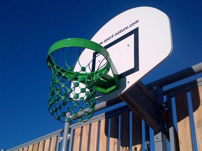 Multsiports acier/bois avec cercle basket anti vandalisme